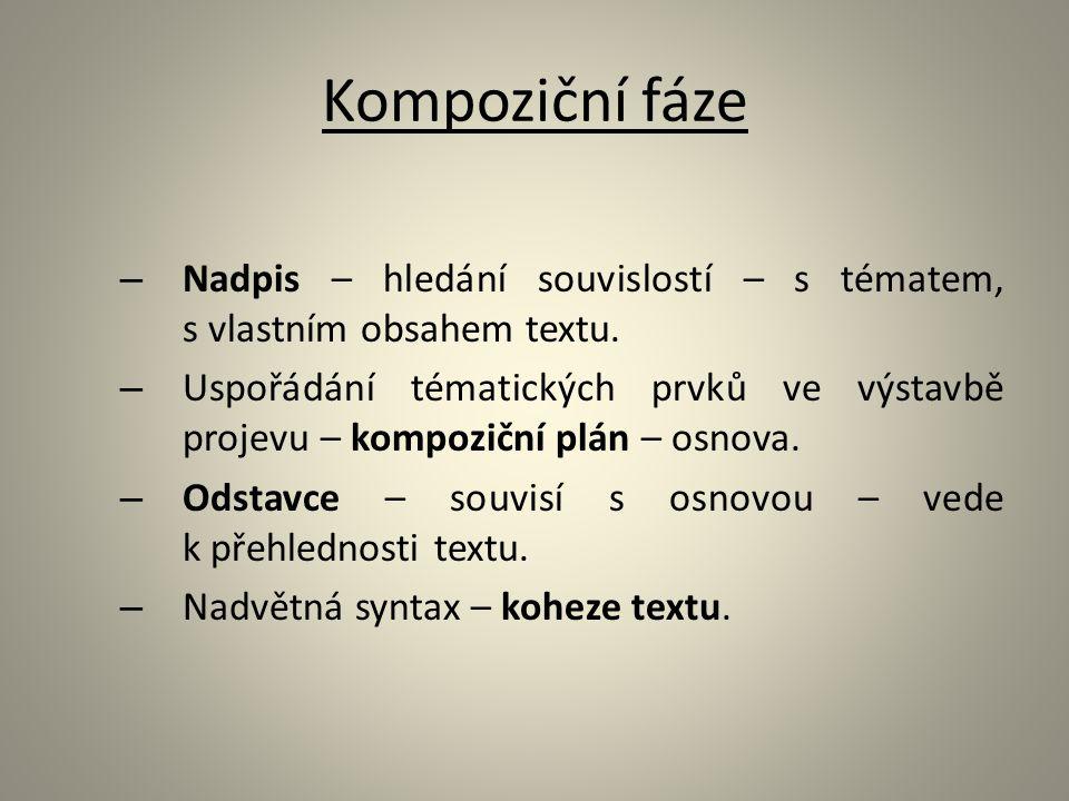 Kompoziční fáze – Nadpis – hledání souvislostí – s tématem, s vlastním obsahem textu. – Uspořádání tématických prvků ve výstavbě projevu – kompoziční