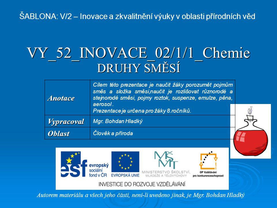 VY_52_INOVACE_02/1/1_Chemie DRUHY SMĚSÍ Autorem materiálu a všech jeho částí, není-li uvedeno jinak, je Mgr. Bohdan Hladký ŠABLONA: V/2 – Inovace a zk