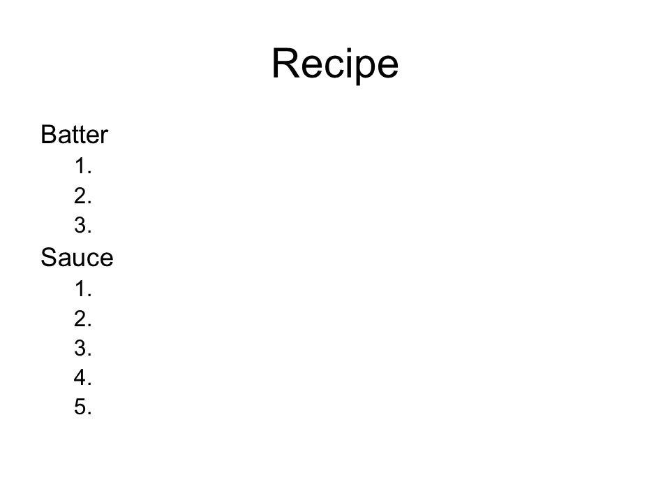 Recipe Batter 1.plain flour 2.salt 3.beer Sauce 1.mayonnaise 2.gherkins 3.capers (=kapary – nerozvinutá poupata květů keře kapary trnité) 4.parsley 5.lemon juice