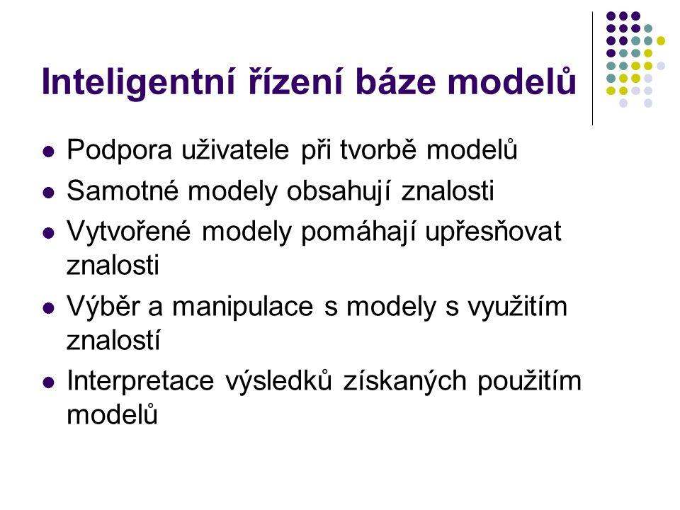 Inteligentní řízení báze modelů Podpora uživatele při tvorbě modelů Samotné modely obsahují znalosti Vytvořené modely pomáhají upřesňovat znalosti Výběr a manipulace s modely s využitím znalostí Interpretace výsledků získaných použitím modelů