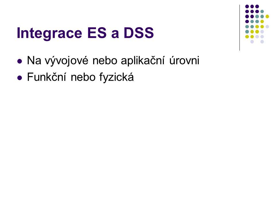 Integrace ES a DSS Na vývojové nebo aplikační úrovni Funkční nebo fyzická