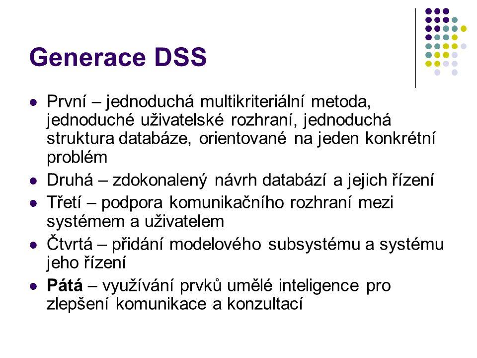 Generace DSS První – jednoduchá multikriteriální metoda, jednoduché uživatelské rozhraní, jednoduchá struktura databáze, orientované na jeden konkrétní problém Druhá – zdokonalený návrh databází a jejich řízení Třetí – podpora komunikačního rozhraní mezi systémem a uživatelem Čtvrtá – přidání modelového subsystému a systému jeho řízení Pátá – využívání prvků umělé inteligence pro zlepšení komunikace a konzultací