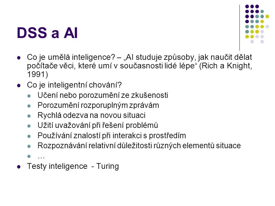 """DSS a AI Co je umělá inteligence? – """"AI studuje způsoby, jak naučit dělat počítače věci, které umí v současnosti lidé lépe"""" (Rich a Knight, 1991) Co j"""