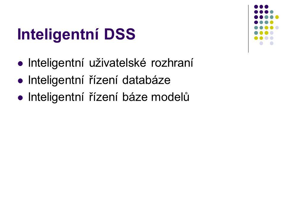 Inteligentní DSS Inteligentní uživatelské rozhraní Inteligentní řízení databáze Inteligentní řízení báze modelů