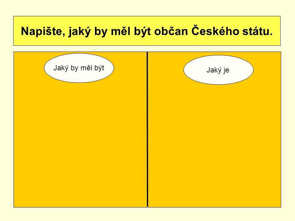 Napište, jaký by měl být občan Českého státu. Jaký by měl být Jaký je