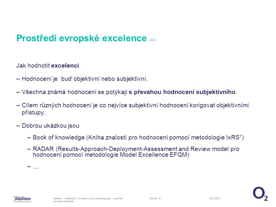 30.10.2007Beseba - Manažerská výkonnost a konkurenceschopnost v prostředí evropské excelence Snímek 11 Prostředí evropské excelence (4/4) Jak hodnotit excelenci –Hodnocení je buď objektivní nebo subjektivní.