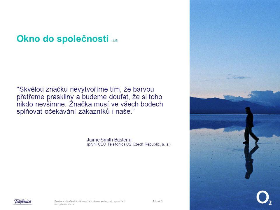 30.10.2007Beseba - Manažerská výkonnost a konkurenceschopnost v prostředí evropské excelence Snímek 3 Okno do společnosti (1/5) Skvělou značku nevytvoříme tím, že barvou přetřeme praskliny a budeme doufat, že si toho nikdo nevšimne.
