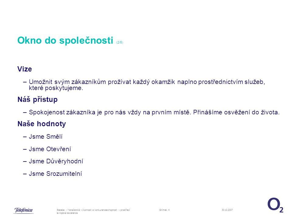 30.10.2007Beseba - Manažerská výkonnost a konkurenceschopnost v prostředí evropské excelence Snímek 4 Okno do společnosti (2/5) Vize –Umožnit svým zákazníkům prožívat každý okamžik naplno prostřednictvím služeb, které poskytujeme.