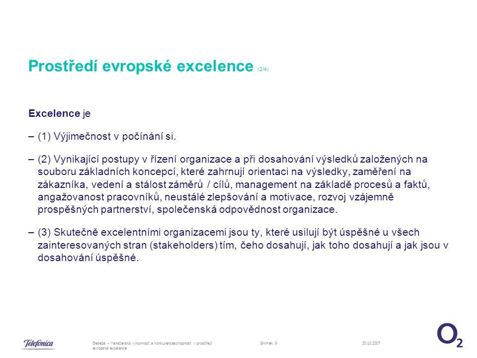 30.10.2007Beseba - Manažerská výkonnost a konkurenceschopnost v prostředí evropské excelence Snímek 10 Prostředí evropské excelence (3/4) Cesta k excelenci –Není jednoduchá (a už vůbec ne rychlá) –Nutná je velmi aktivní podpora všech aktivit managementem, zejména vrcholovým –Postupné kroky –Rozvoj procesního řízení, ale ne jen jejich popis –Důležité jsou dosahované výsledky –Vybudování fungujícího integrovaného systému řízení –Orientace do celé společnosti –Zaměření na účelnost, jednoduchost a efektivitu