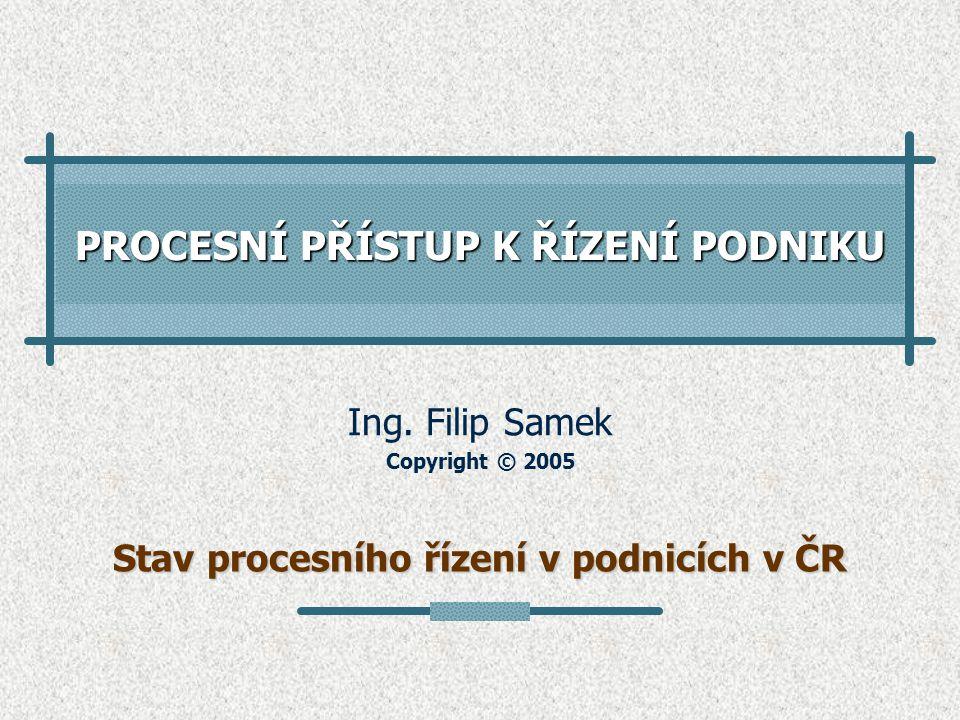 PROCESNÍ PŘÍSTUP K ŘÍZENÍ PODNIKU Ing. Filip Samek Copyright © 2005 Stav procesního řízení v podnicích v ČR