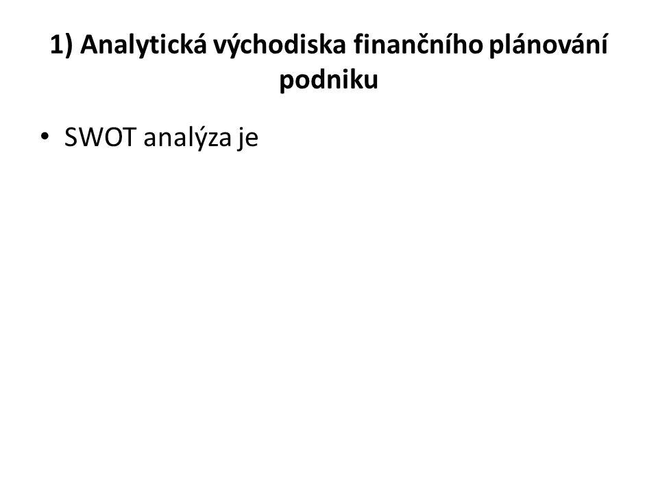 1) Analytická východiska finančního plánování podniku SWOT analýza je