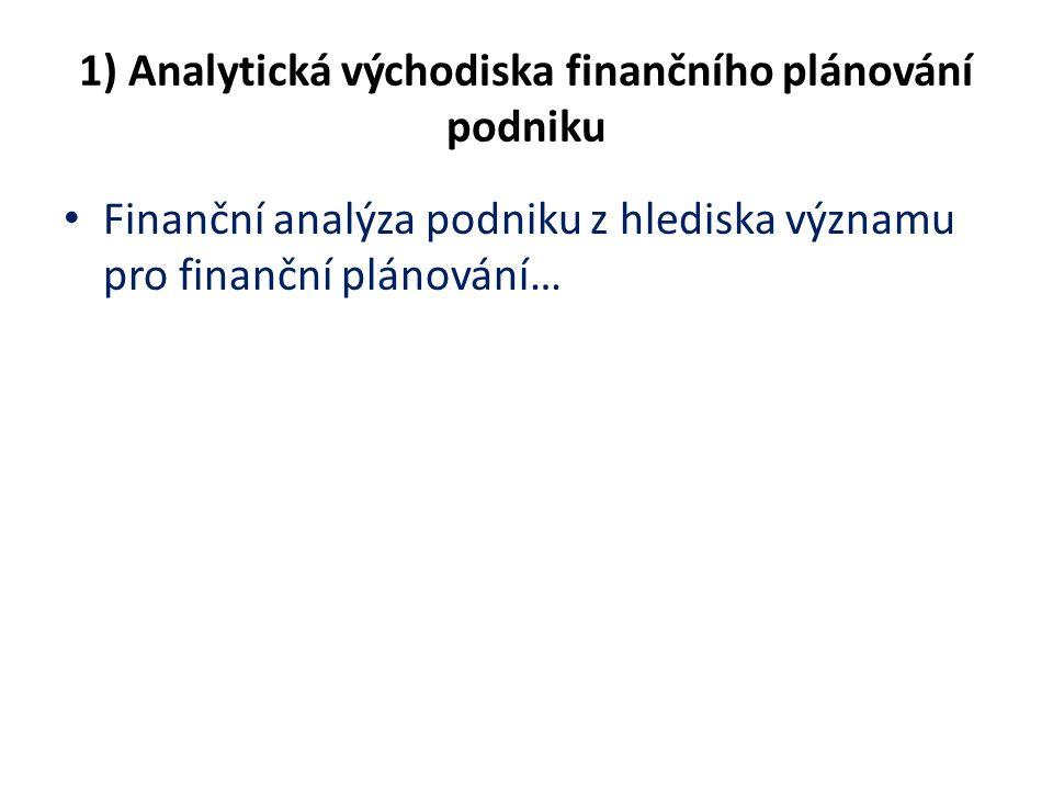 1) Analytická východiska finančního plánování podniku Finanční analýza podniku z hlediska významu pro finanční plánování…