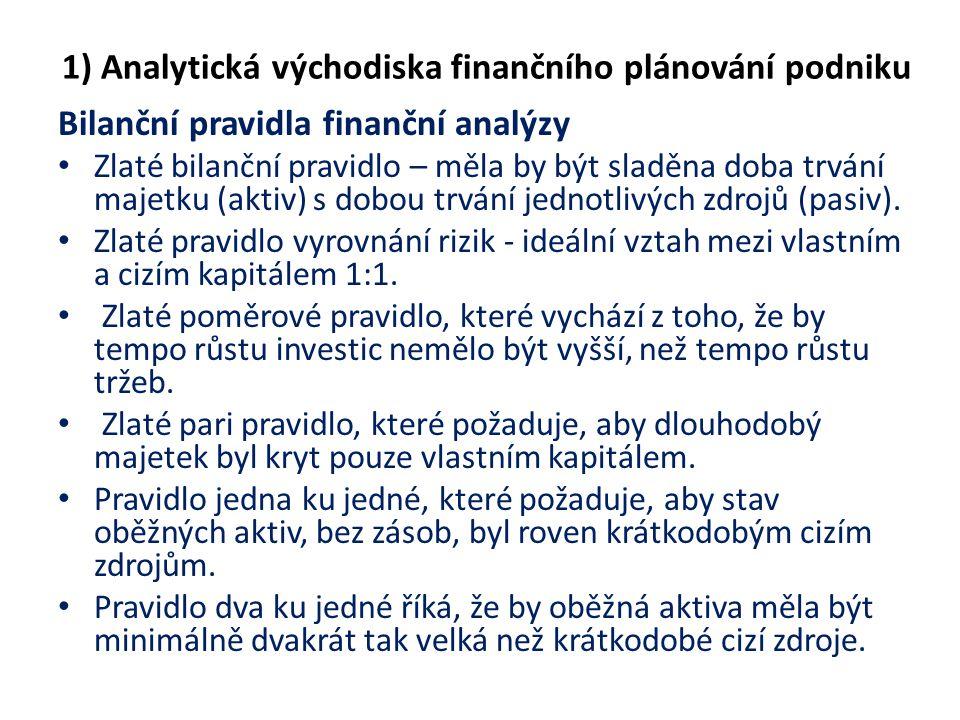 1) Analytická východiska finančního plánování podniku Bilanční pravidla finanční analýzy Zlaté bilanční pravidlo – měla by být sladěna doba trvání maj