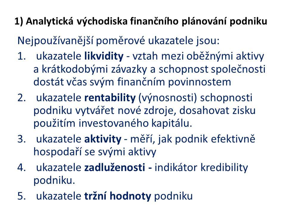 1) Analytická východiska finančního plánování podniku Nejpoužívanější poměrové ukazatele jsou: 1. ukazatele likvidity - vztah mezi oběžnými aktivy a k