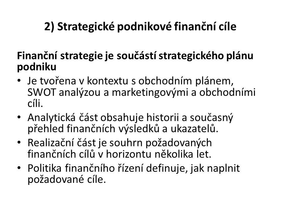2) Strategické podnikové finanční cíle Finanční strategie je součástí strategického plánu podniku Je tvořena v kontextu s obchodním plánem, SWOT analý