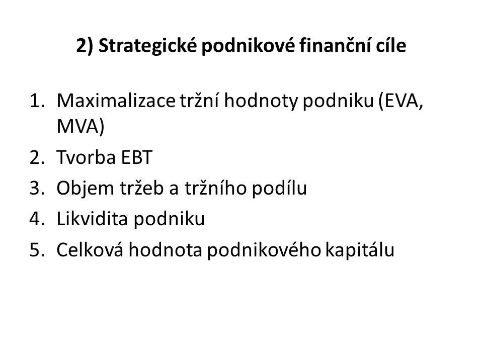 2) Strategické podnikové finanční cíle 1.Maximalizace tržní hodnoty podniku (EVA, MVA) 2.Tvorba EBT 3.Objem tržeb a tržního podílu 4.Likvidita podniku