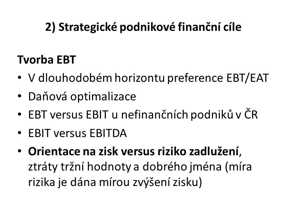 2) Strategické podnikové finanční cíle Tvorba EBT V dlouhodobém horizontu preference EBT/EAT Daňová optimalizace EBT versus EBIT u nefinančních podnik