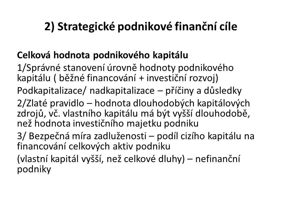 2) Strategické podnikové finanční cíle Celková hodnota podnikového kapitálu 1/Správné stanovení úrovně hodnoty podnikového kapitálu ( běžné financován
