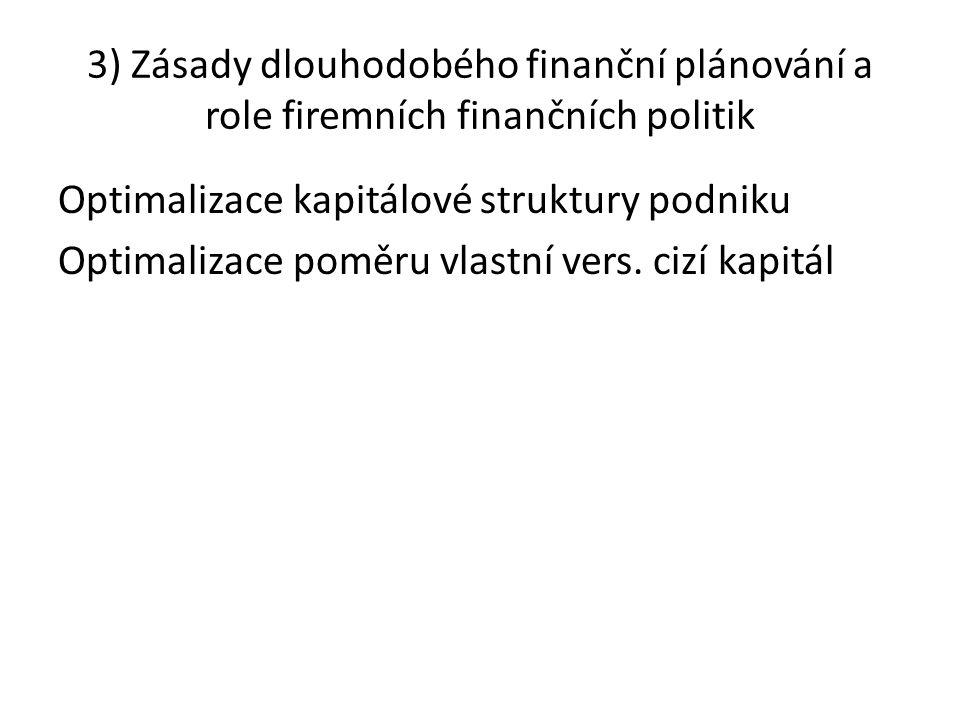 3) Zásady dlouhodobého finanční plánování a role firemních finančních politik Optimalizace kapitálové struktury podniku Optimalizace poměru vlastní ve