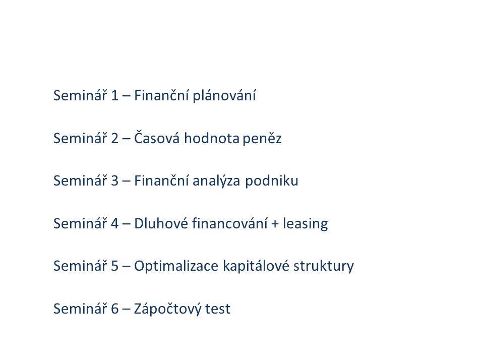 Seminář 1 – Finanční plánování Seminář 2 – Časová hodnota peněz Seminář 3 – Finanční analýza podniku Seminář 4 – Dluhové financování + leasing Seminář