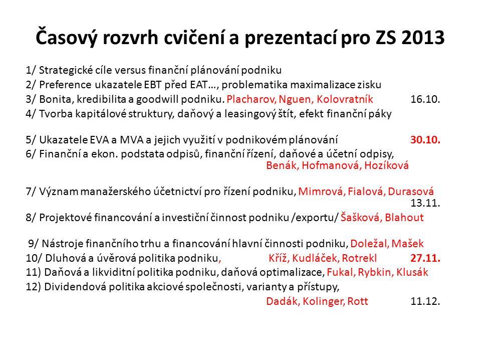 Časový rozvrh cvičení a prezentací pro ZS 2013 1/ Strategické cíle versus finanční plánování podniku 2/ Preference ukazatele EBT před EAT…, problemati
