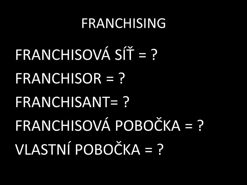 FRANCHISING FRANCHISOVÁ SÍŤ = ? FRANCHISOR = ? FRANCHISANT= ? FRANCHISOVÁ POBOČKA = ? VLASTNÍ POBOČKA = ?