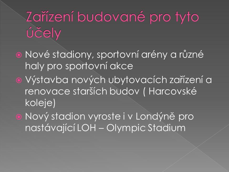  Nové stadiony, sportovní arény a různé haly pro sportovní akce  Výstavba nových ubytovacích zařízení a renovace starších budov ( Harcovské koleje)