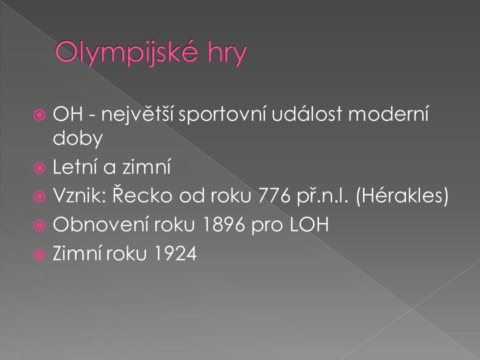  OH - největší sportovní událost moderní doby  Letní a zimní  Vznik: Řecko od roku 776 př.n.l. (Hérakles)  Obnovení roku 1896 pro LOH  Zimní roku