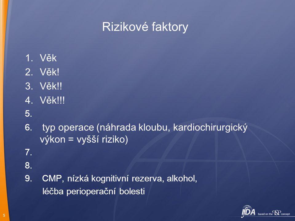 5 Rizikové faktory 1.Věk 2.Věk! 3.Věk!! 4.Věk!!! 5. 6. typ operace (náhrada kloubu, kardiochirurgický výkon = vyšší riziko) 7. 8. 9. CMP, nízká kognit
