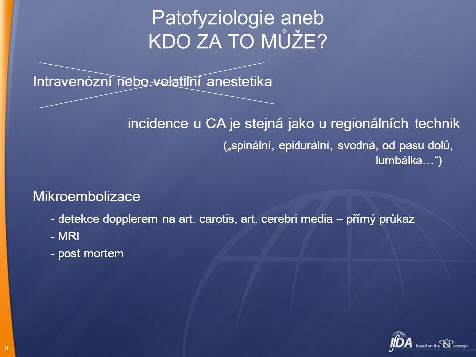 """8 Patofyziologie aneb KDO ZA TO MŮŽE? Intravenózní nebo volatilní anestetika incidence u CA je stejná jako u regionálních technik (""""spinální, epidurál"""