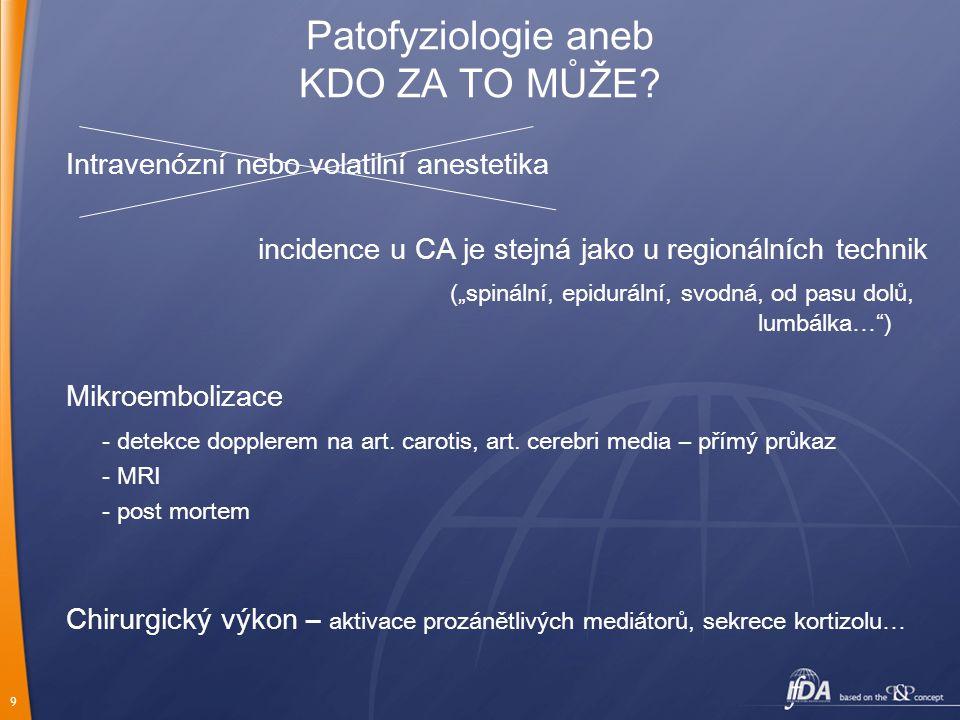 """9 Patofyziologie aneb KDO ZA TO MŮŽE? Intravenózní nebo volatilní anestetika incidence u CA je stejná jako u regionálních technik (""""spinální, epidurál"""