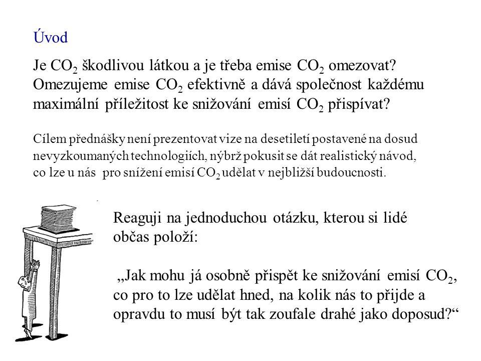 Úvod Cílem přednášky není prezentovat vize na desetiletí postavené na dosud nevyzkoumaných technologiích, nýbrž pokusit se dát realistický návod, co lze u nás pro snížení emisí CO 2 udělat v nejbližší budoucnosti.
