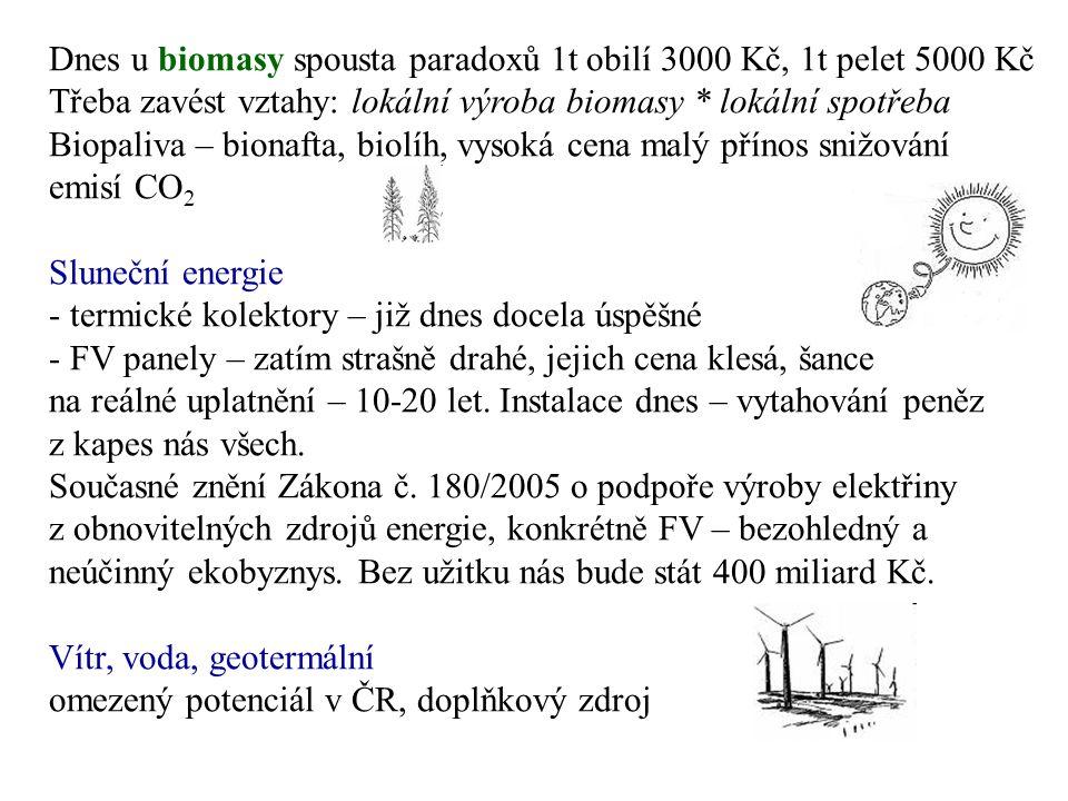 Dnes u biomasy spousta paradoxů 1t obilí 3000 Kč, 1t pelet 5000 Kč Třeba zavést vztahy: lokální výroba biomasy * lokální spotřeba Biopaliva – bionafta, biolíh, vysoká cena malý přínos snižování emisí CO 2 Sluneční energie - termické kolektory – již dnes docela úspěšné - FV panely – zatím strašně drahé, jejich cena klesá, šance na reálné uplatnění – 10-20 let.