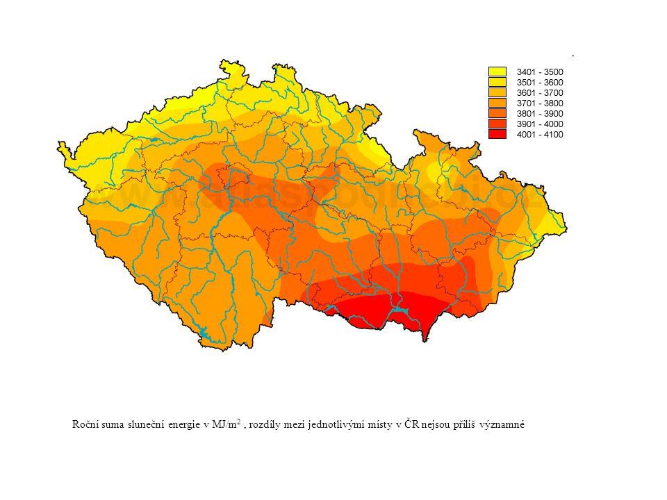 Roční suma sluneční energie v MJ/m 2, rozdíly mezi jednotlivými místy v ČR nejsou příliš významné