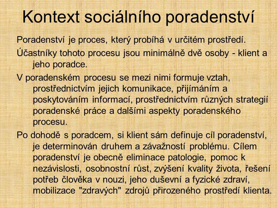 Kontext sociálního poradenství Poradenství je proces, který probíhá v určitém prostředí. Účastníky tohoto procesu jsou minimálně dvě osoby - klient a