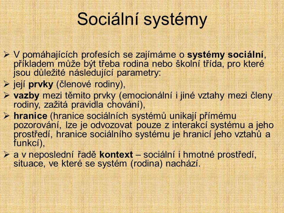 Sociální systémy  V pomáhajících profesích se zajímáme o systémy sociální, příkladem může být třeba rodina nebo školní třída, pro které jsou důležité