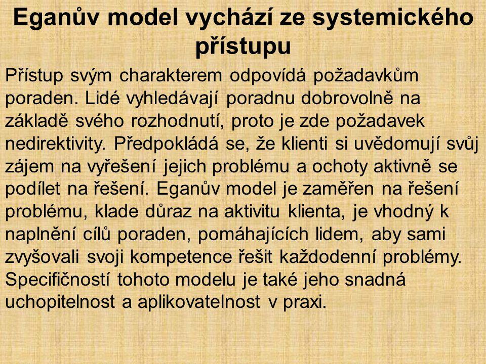 Eganův model vychází ze systemického přístupu Přístup svým charakterem odpovídá požadavkům poraden. Lidé vyhledávají poradnu dobrovolně na základě své