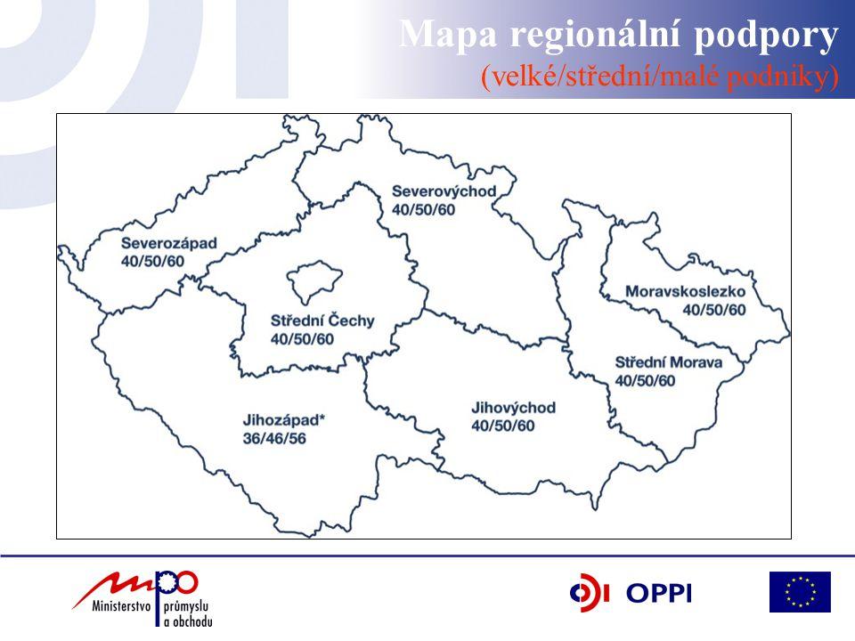 Mapa regionální podpory (velké/střední/malé podniky)