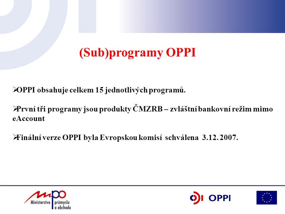 (Sub)programy OPPI  OPPI obsahuje celkem 15 jednotlivých programů.