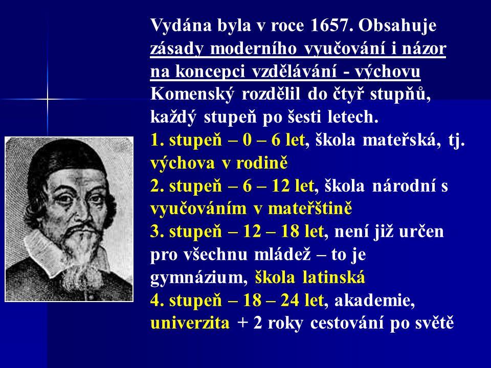 Velká didaktika (Didactica magna) je jeho první velkou pedagogickou prací. Byla napsána v češtině pod názvem Česká didaktika a posléze přeložena do la