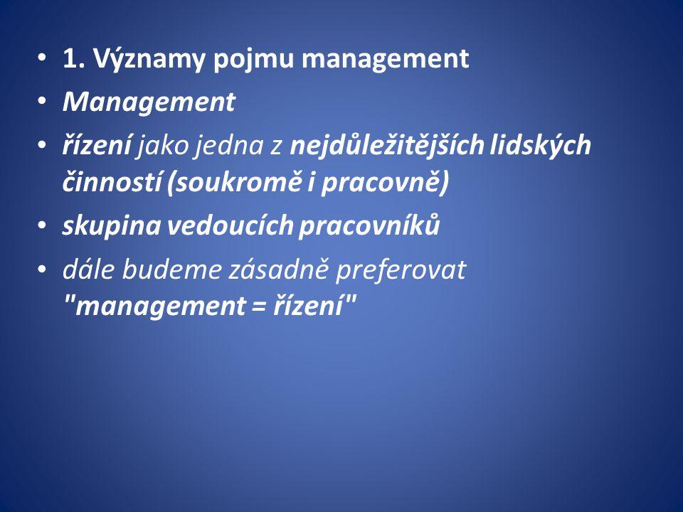 1. Významy pojmu management Management řízení jako jedna z nejdůležitějších lidských činností (soukromě i pracovně) skupina vedoucích pracovníků dále