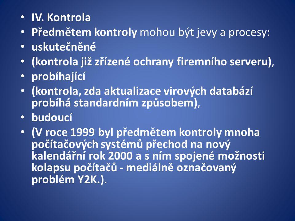 IV. Kontrola Předmětem kontroly mohou být jevy a procesy: uskutečněné (kontrola již zřízené ochrany firemního serveru), probíhající (kontrola, zda akt