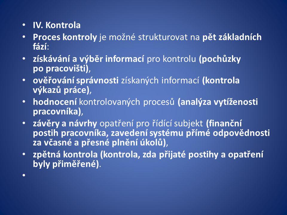 IV. Kontrola Proces kontroly je možné strukturovat na pět základních fází: získávání a výběr informací pro kontrolu (pochůzky po pracovišti), ověřován