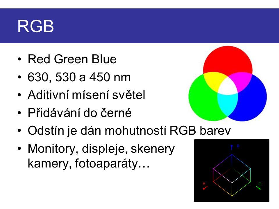 Red Green Blue 630, 530 a 450 nm Aditivní mísení světel Přidávání do černé Odstín je dán mohutností RGB barev Monitory, displeje, skenery kamery, fotoaparáty… RGB