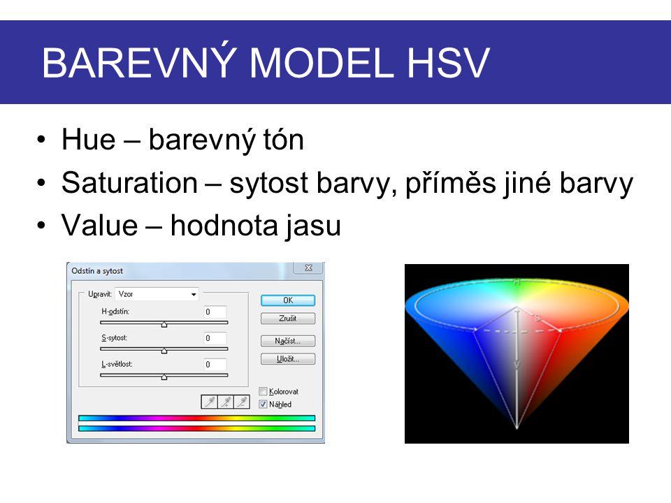 BAREVNÝ MODEL HSV Hue – barevný tón Saturation – sytost barvy, příměs jiné barvy Value – hodnota jasu