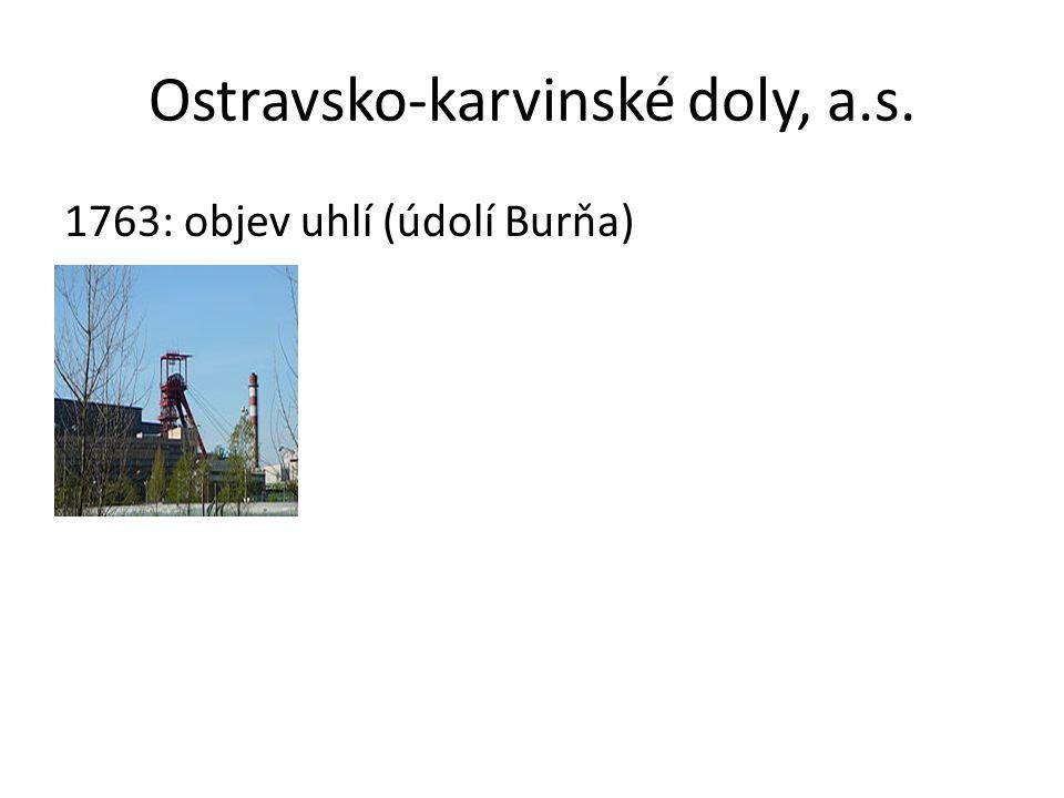 Ostravsko-karvinské doly, a.s. 1763: objev uhlí (údolí Burňa)