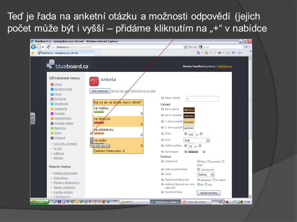 Nastavení uložíme a zkopírujeme HTML kód