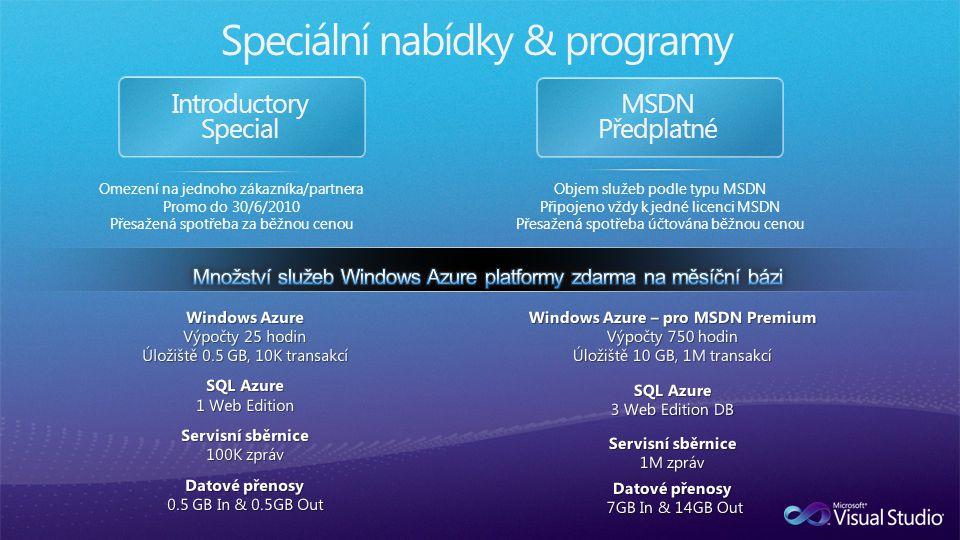 Introductory Special MSDN Předplatné Speciální nabídky & programy Omezení na jednoho zákazníka/partnera Promo do 30/6/2010 Přesažená spotřeba za běžnou cenou Objem služeb podle typu MSDN Připojeno vždy k jedné licenci MSDN Přesažená spotřeba účtována běžnou cenou
