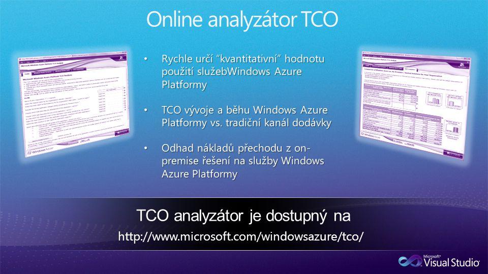 Online analyzátor TCO http://www.microsoft.com/windowsazure/tco/ TCO analyzátor je dostupný na