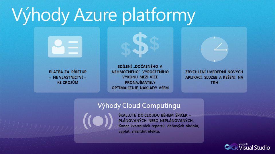 """Výhody Cloud Computingu PLATBA ZA PŘÍSTUP – NE VLASTNICTVÍ – KE ZROJŮM SDÍLENÍ """"DOČASNÉHO A NEHMOTNÉHO VÝPOČETNÍHO VÝKONU MEZI VÍCE PRONAJÍMATELY OPTIMALIZUJE NÁKLADY VŠEM ZRYCHLENÍ UVEDEDNÍ NOVÝCH APLIKACÍ, SLUŽEB A ŘEŠENÍ NA TRH ŠKÁLUJTE DO CLOUDU BĚHEM ŠPIČEK – PLÁNOVANÝCH NEBO NEPLÁNOVANÝCH."""